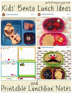 Kid's Bento Lunch Ideas and Free Printable Lunchbox Notes - girlinthegarage.net