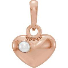14K Rose Freshwater Cultured Pearl Heart Pendant