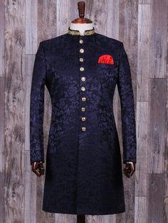 Shop Navy terry rayon classy indo western online from India. Blue Sherwani, Mens Sherwani, Sherwani Groom, Tuxedos, Nigerian Men Fashion, Indian Men Fashion, Dress Suits For Men, Men Dress, Indian Wedding Clothes For Men
