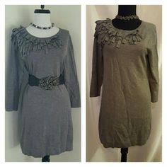 """Fringed dress Grey knit dress with asymmetrical fringes along neckline. Dress is 31.5"""" in length. Accessories not included.?? l Alfani Dresses"""