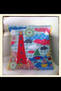 Lighthouse appliqué pillow