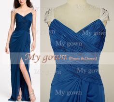 Floor Length With Draped Beads Crystal Blue Prom Gown by MyGown