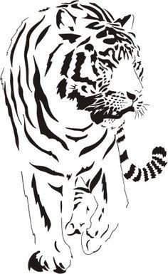 New Wood Burning Cat Pyrography 26 Ideas Stencils, Stencil Art, Tiger Stencil, Tiger Illustration, Stencil Patterns, Stencil Designs, Kirigami, Gravure Laser, Animal Stencil