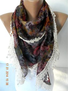 Fashion ScarfTriangular Scarf with Trim Edge-Gift by MebaDesign