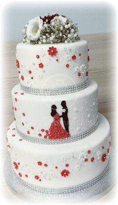 Rote und weiße Hochzeitstorte Red and White Wedding Cake – Pies – Cake # and # White Fondant Wedding Cakes, White Wedding Cakes, Fondant Cakes, Wedding White, Cake Wedding, White Cakes, Perfect Wedding, Beautiful Cakes, Amazing Cakes