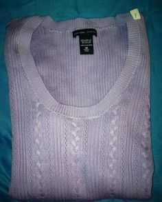 NY & Company Hip Length Lavender Spring Sweater Long Sleeve Size M $7.99