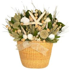 Seashell and Dried Floral Arrangement