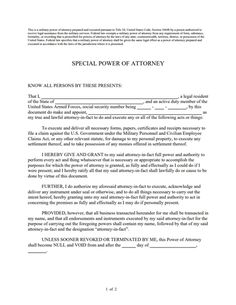 Special Power Of Attorney Form Reasons Why Special Power Of