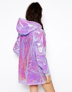 The Ragged Priest Hooded Festival Rain Holographic Jacket / ASOS / Festival Wear, Festival Looks, Festival Fashion, Holographic Jacket, Holographic Raincoat, Look Hippie Chic, Textiles Y Moda, Streetwear, Ragged Priest