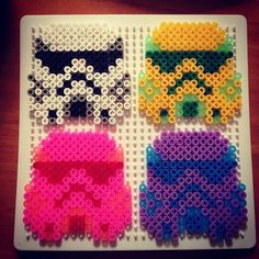 Star Wars Stormtroopers hama perler beads by brattans Pearler Beads, Fuse Beads, Hama Beads Patterns, Beading Patterns, Hama Bead Boards, Hama Art, Star Wars Crafts, 8bit Art, Melting Beads
