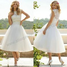 Knee Length Ivory Organza Lace Sleeveless Corset 2014 Short Wedding Dresses With Bolero Free Shipping-in Wedding Dresses from Apparel & Acce...