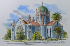 Watercolor Painting of Flagler Memorial Presbyterian Church, Saint Augustine Flordia