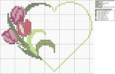 cuore con tulipani punto croce