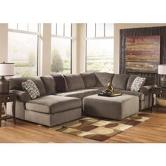 Ashley Jessa Place 39802-08-16-34-67 2-Piece Living Room Set with Sectional Sofa and Oversized Accent Ottoman in Dune