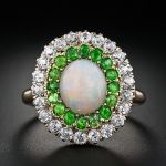 Antique Opal, Demantoid Garnet And Diamond Ring Set In Yellow Gold
