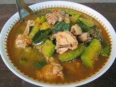 Bitter gourd soup with chicken to add flavor.