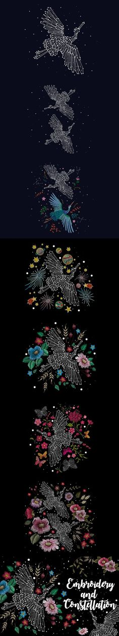 embroidery and constellation. Beauty