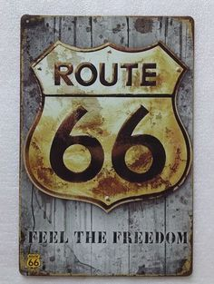 Plaque Route 66 20x30 cm sur fullbiker.com