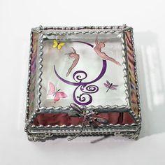 Etched Hand Painted Fairies and Butterflies Jewelry Trinket Keepsake Display Treasure Box
