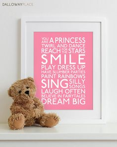 Baby Girl Nursery Art Print  typography poster by DallowayPlace, $17.00