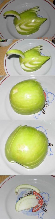 Лебедь яблочный : Украшение блюд. Шаг-за-шагом | Еда-Карвинг. | Постила