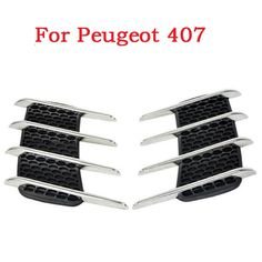 Creative Chromium Stickers Simulation auto Vents Simulation Vents Decorative Shark Gills Outlet Side Cover For Peugeot 407