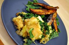 Caramelized Onion & Kale Sweet Potato-Parsnip Mash