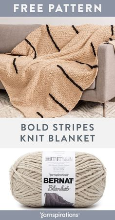 Free Bold Stripes Knit Blanket pattern using Bernat Blanket Yarn. This pattern is featured in Irish moss stitch, including graphic stripes that are worked in chain stitch appliqué. It's a great project for practicing knit, purl, chain stitch and embroidery techniques. Display this rich blanket in the family room, or as an extra layer of warmth in the bedroom. #Yarnspirations #FreeKnitPattern #KnitPillow #IrishMossStitch #GraphicStripes #BernatYarn #BernatBlanket Knitting Patterns Free, Knit Patterns, Free Knitting, Blanket Patterns, Blanket Yarn, Knitted Blankets, Bernat Yarn, Knit Crochet, Crochet Hats