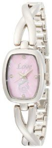 """TimeLink Women's TL820 Inspiration """"Mother's Love"""" Pink Diamond Dial Silver Bangle Watch Inspirations by Timelink. $35.00"""