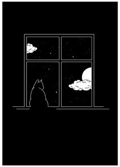"""Art Print - """"Moonlight Cat"""" by yours truly. Print on high-quality paper, with a smooth texture. Cute Black Wallpaper, Black Background Wallpaper, Black Phone Wallpaper, Black Aesthetic Wallpaper, Cute Patterns Wallpaper, Aesthetic Iphone Wallpaper, Galaxy Wallpaper, Cartoon Wallpaper, Aesthetic Wallpapers"""
