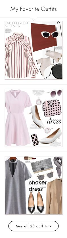 """""""My Favorite Outfits"""" by puddingis ❤ liked on Polyvore featuring StreetStyle, casual, stripes, embellishedsleeves, Hogan, Harper & Blake, Aaron Basha, Spring, Pink and chokerdress"""