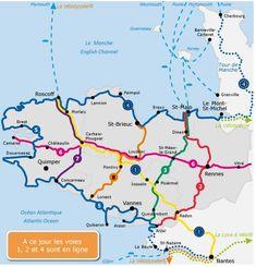 carte des voies vertes de Bretagne