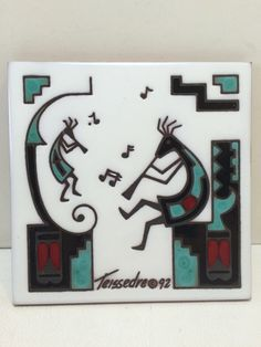 VTG Western Indian Kokopelli Music Cleo Teissedre Wall Plaque Art Tile Southwest