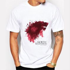 T-shirt Homme 2016 New Game of Thrones T-shirt Hommes Cool le Nord Se Souvient Sang de Loup T-shirt Hommes T-shirts Camisetas Hombre