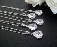 Shoply.com -Set of 5 Bridesmaid's Necklaces Sterling Silver Cubic Zircon Style. Only $150.00
