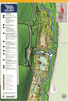 Map enlargement of the Master Site Plan for the Dam Ruins and surrounding area of the Dam Park at Austin!