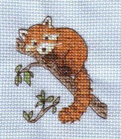 Red Panda cross stitch by ~Mikha on deviantART