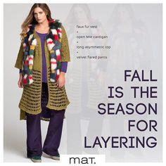 Σαν αθεράπευτες fashion addicts αγαπάμε το layering! H τάση που έχει να κάνει με το να φοράμε το ένα ρούχο πάνω από το άλλο, και να δημιουργούμε με πολύ φαντασία μοδάτα σύνολα σαν και αυτό! Πολύχρωμο faux fur γιλέκο / Κωδικός 663.3013.Ν, Ζακέτα με αραχνοΰφαντη πλέξη / Κωδικός 661.5020.1, Μακριά ασύμμετρη μπλούζα / Κωδικός 661.7167, Κοτλέ παντελόνι σε flared γραμμή / Κωδικός 663.2068 #matfashion #fallwinter2016 #collection #layering #fashion #trend #color #trend #inspiration #streetstyle…