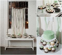 Modern Table and mint backdrop by Bash Factory  Photos: Bloom and Lo