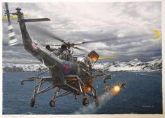of April a British Westland Wasp naval helicopter launches a anti-ship missile at the crippled Argentine attack submarine ARA Santa Fe, South Georgia islands, Falklands. Military Helicopter, Military Aircraft, Military Art, Military History, Military Videos, Falklands War, Airplane Art, Naval History, Battle Of Britain