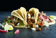 Authentic Street Tacos and Salsas. Whip up the fast, tasty, autentica staple of L.A.'s sidewalks. No truck required.  Read through the article the recipes are on the 2-3rd page.  ByJohn T. Edge, Photographs byMarcus