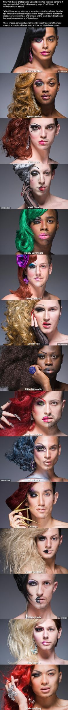 Half-Drag . . . A Different Kind of Beauty. I find this kind of interesting. The power of make up.