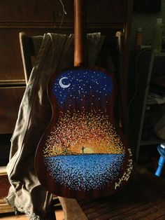 Post with 4273 votes and 16687 views. I met a guy at hostel. Last night, he started to paint the back of my baritone ukulele. This morning, he finished. Acoustic Guitar Cake, Ukulele Art, Guitar Art, Ukulele Drawing, Ukulele Songs, Ukelele Painted, Painted Guitars, Painting Inspiration, Art Inspo