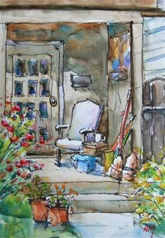 "Watercolour painting of porch with chair for urban sketchers by Nora MacPhail: #watercolor, #art, #urbansketchers, 5""x7""painting with 8""x10""matt, $50"