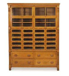 Oak Haberdashery Cabinet - Mid c Vintage Wood, Vintage Sewing, Antique Furniture, Wood Furniture, Wooden Cabinets, Cupboards, Drawer Shelves, Shelf, Wood Transfer