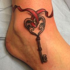 Ankle key tattoo with ribbon #TattooModels #tattoo