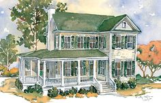 2,225 sq ft; 3 bed and 3 bath. Great side porch with outdoor fireplace and nice den upstairs.  Oak Pond - Southern Living plan