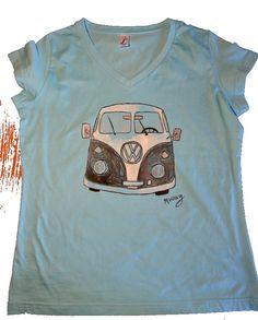 Hand painted v-neck t-shirt VW Van by MrsDarksidesArtWork on Etsy