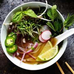 This Instant Pot Chicken Pho makes the traditional Vietnamese chicken noodle soup easy to make at home in around 30 minutes with your pressure cooker.