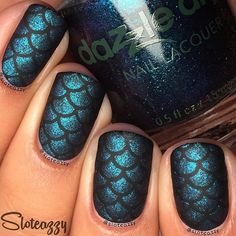 Amazing mermaid nails using scale stencils from whatsupnails.com @whatsupnails…